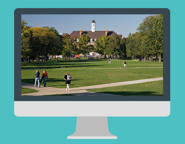 Computer screen displays a university and students walking on campus