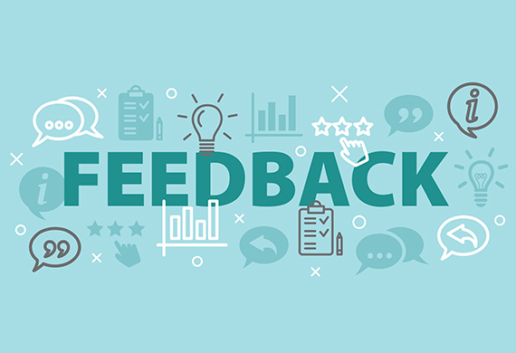"The word ""feedback"" is surrounded by icons of lightbulbs, charts, and discussion bubbles"
