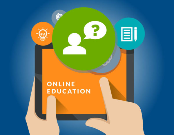 """Cartoon of tablet with the words """"online education"""" and thought bubble with person with question mark"""