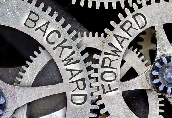 """Gears have the words """"backward"""" and """"forward"""" written on them"""