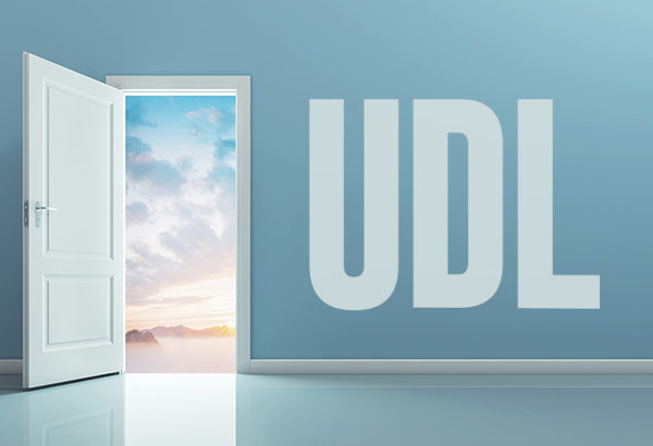 "Door opens to a bright, cloudy sky with the words ""UDL"" written on the wall next to it"