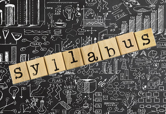Chalkboard with doodles and letter blocks that spell syllabus
