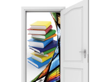 Books come flooding from an open door