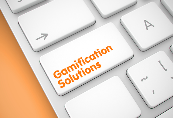 """Computer keyboard has button with the words, """"gamification solutions"""" on it"""