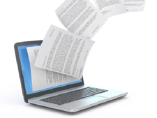 Papers come flying out of computer screen