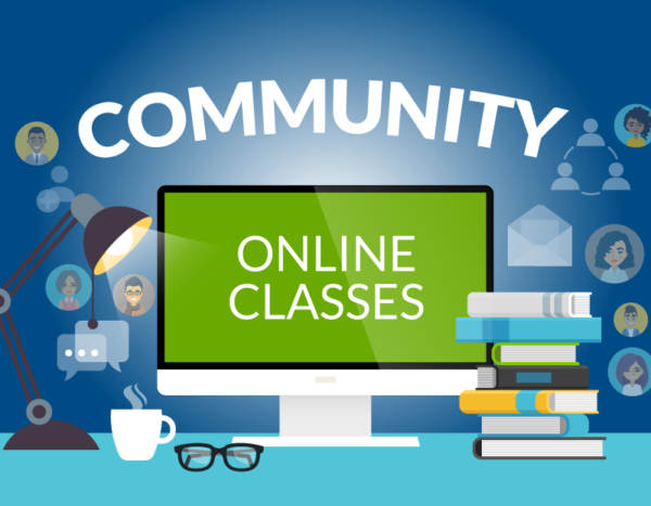 """Computer screen showcases """"online classes"""" with books surrounding it and the word """"community"""" on top of it"""