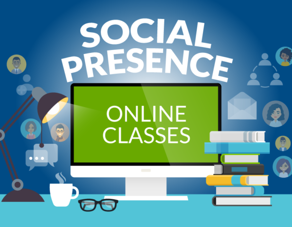"""Computer surrounded with books and icons of people features the words """"social presence"""" and """"online classes"""""""
