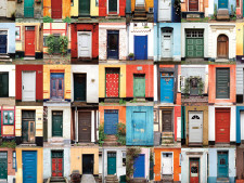 Doors of all different colors and places create collage