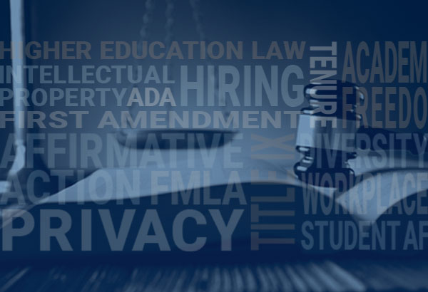 """Book with gavel is featured with words such as, """"privacy, hiring, amendment, etc."""""""