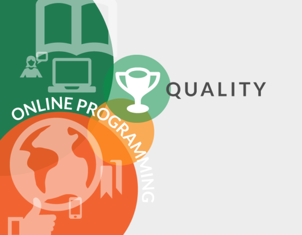 "Icons of trophy and thumbs up are behind the words ""quality online program"""