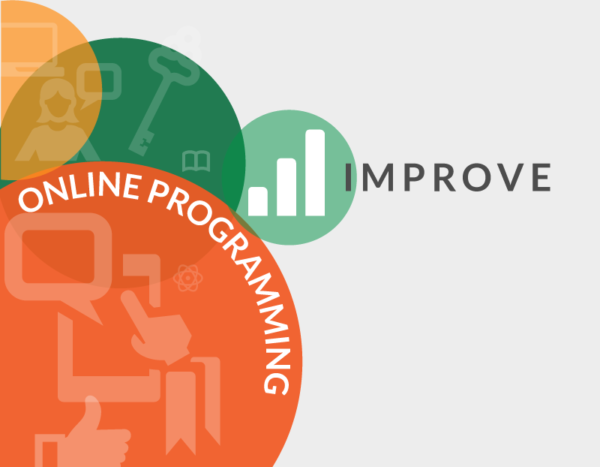"Circles with icons of graphs and keys are behind the words ""improve online programming"""