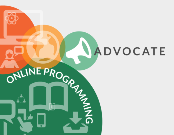 "Circles with icons of books and computers are behind the words ""advocate online programming"""