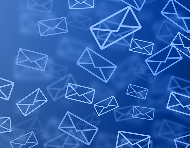 Email message icons fill up the screen