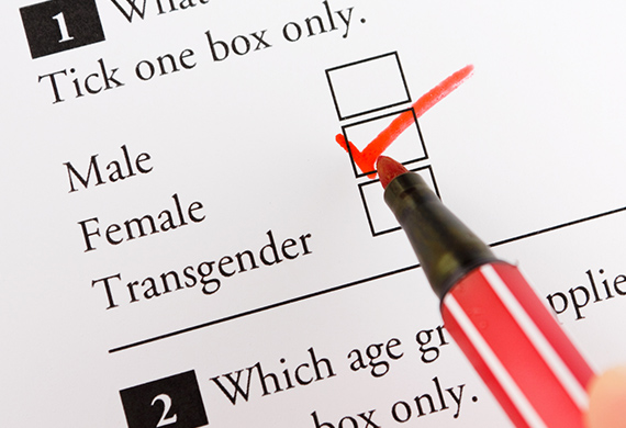 Survey tells individual to tick on box choosing from male, female or transgender