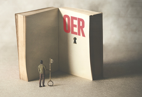"Small person with large key stands in front of huge books with the words ""OER"" written and a keyhole underneath"
