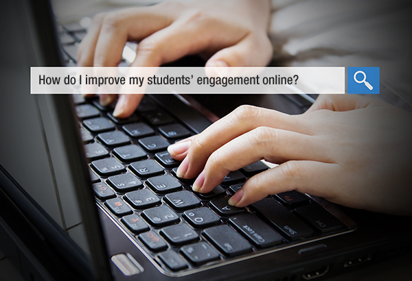 """Person types on keyboard with search displayed that says, """"How do I improve my students' engagement online?"""""""