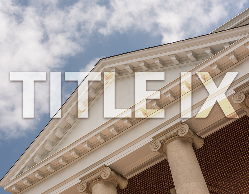 """""""Title IX"""" featured in front of government building"""