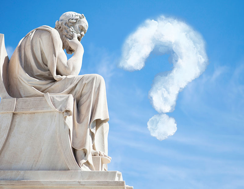 Socrates statue has cloud question mark in front of it