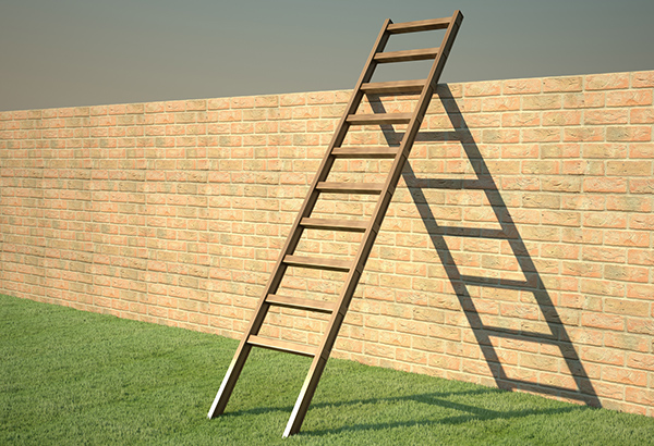 Ladder leans on brick wall outside