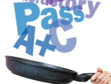 Frying pan mixes up words such as a+, C, Pass, Satisfactory