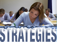 """Student works on assignment and """"strategies"""" appears at the bottom"""