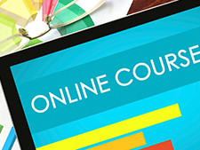 """Online course"" displayed on computer screen"