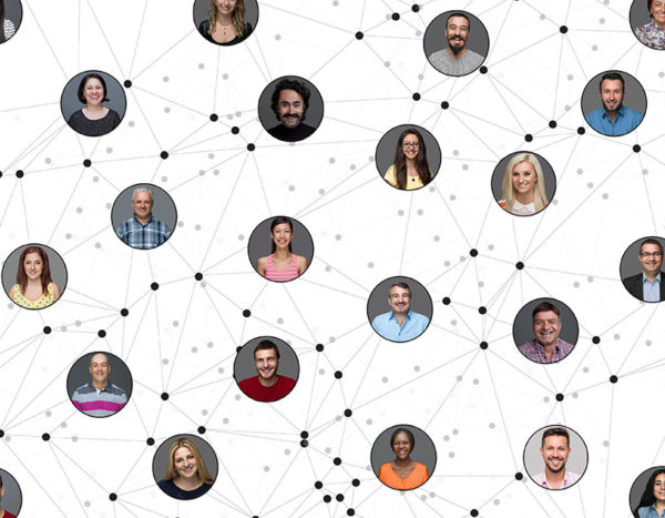 Images of people around the world are connected by lines and dots