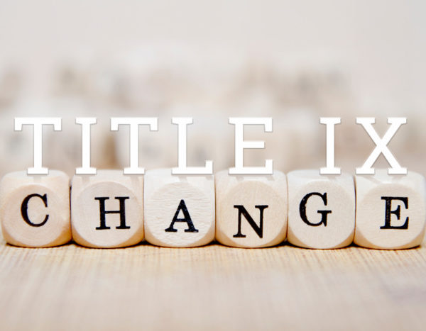 """Title IX sits on top of letter blocks that spell """"change"""""""