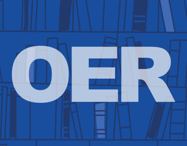 The letter OER are placed in front of blue bookshelf