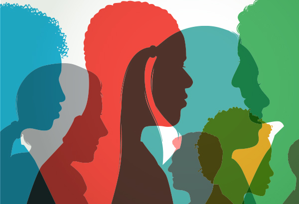 Silhouettes of students from diverse background represent culture in higher education